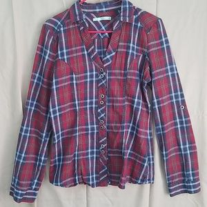 Red and blue flannel v-neck button down shirt